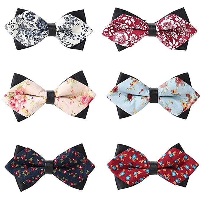 b5c848d482fd Image Unavailable. Image not available for. Color: May Lucky Sharp Angled Bow  Tie Leather Bowtie Men's Print Floral Cravat Casual Bowknot ...