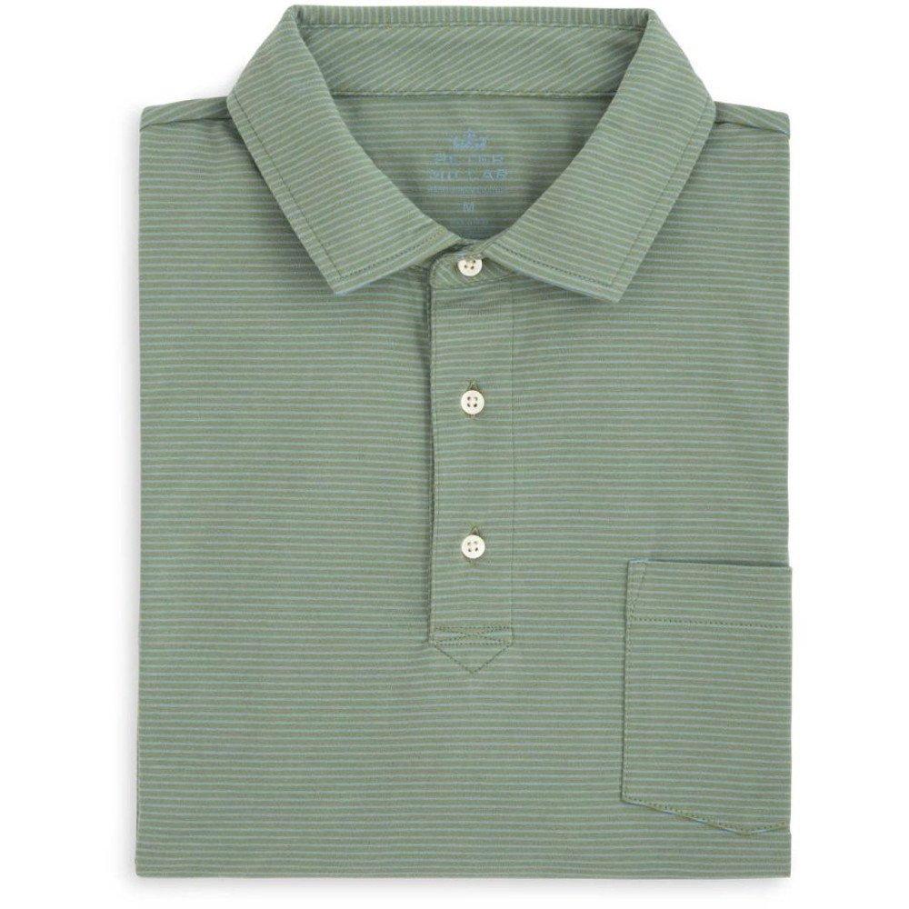 b765519ec30 Amazon.com: PETER MILLAR Men's Mountainside Mitchell Stripe Polo w/SEA  Island Resort Logo Shirt (Spruce Pine) - L: Clothing