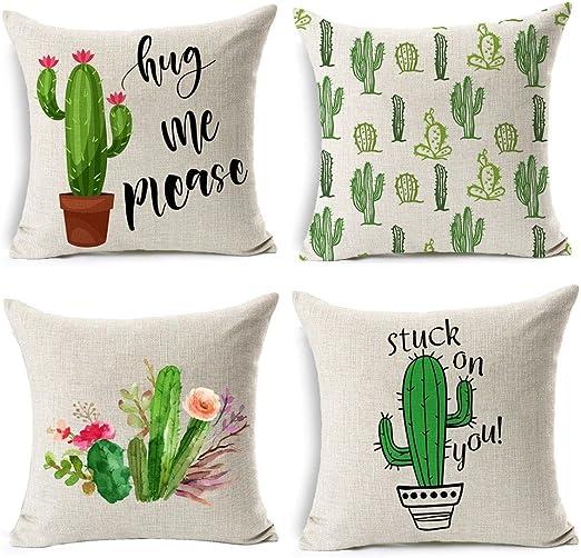Gspirit 4 Pack Verano Estilo Cactus Algodón Lino Decorativo Throw ...