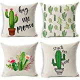 Gspirit 4 Pack Verano Estilo Cactus Algodón Lino Decorativo Throw Pillow Case Funda de Almohada 45x45cm, Regalo Divertido