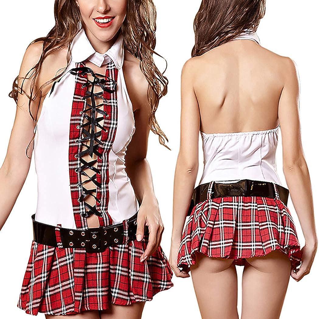 ZOYLINK Disfraz de colegiala Moda de lencería a cuadros Vestido de ...