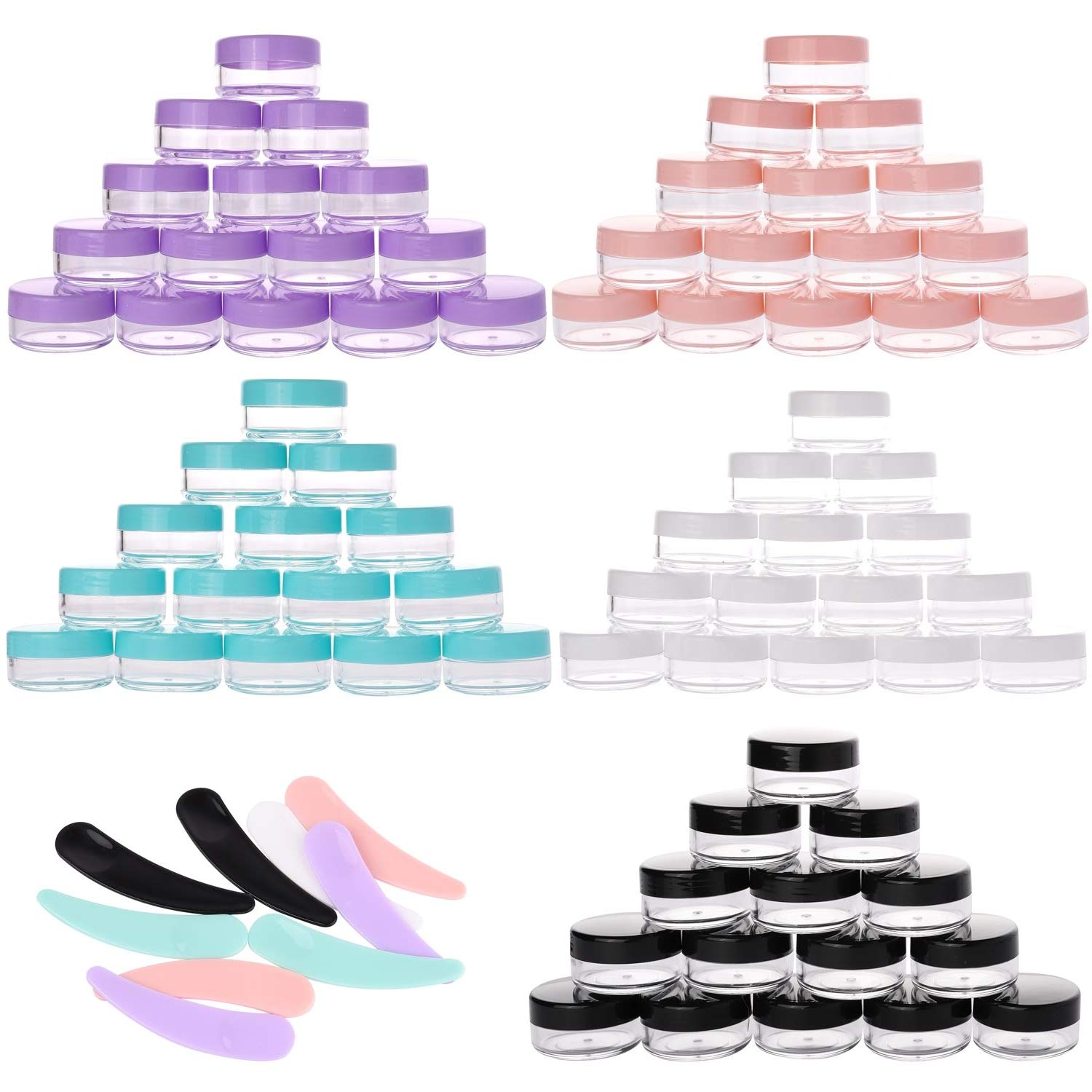 100 Packs 10g Travel Jars Containers with Lids 10ml TSA Approved Travel Bottles Leak Proof and 10Pcs Mask Spoon Cosmetic Spatula for Cream and Lotion