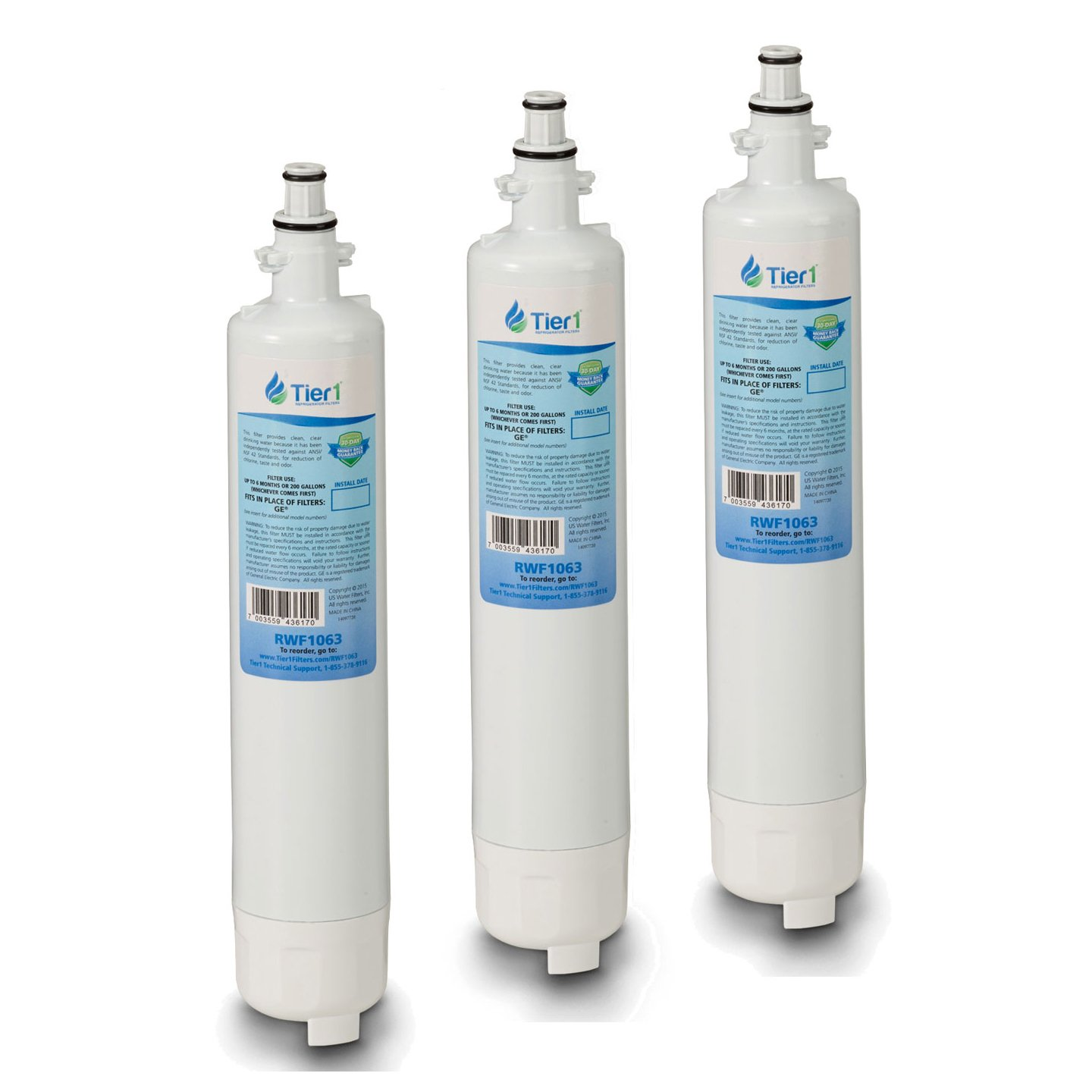Tier1 Replacement GE RPWF Refrigerator Water Filter (NOT for RPWFE) 3 Pack