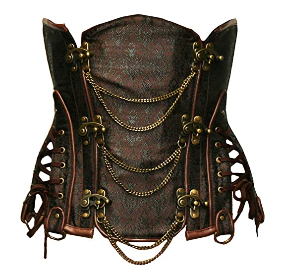 Steampunk Costume Essentials for Women Bslingerie Gothic Steampunk Heavy Duty Waist Cincher Underbust Corset $43.99 AT vintagedancer.com