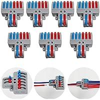CTRICALVER Lever-Nut Surtidas Conector Paquete de 7, Bloque de Terminales de Barra de Presión Bilateral, 2 en 6 fuera…