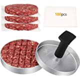 FAVIA Burger Press 100 Patty Papers Set I Non-Stick Hamburger Patty Maker Mold for Beef Veggie Burger BBQ Barbecue Grill BPA