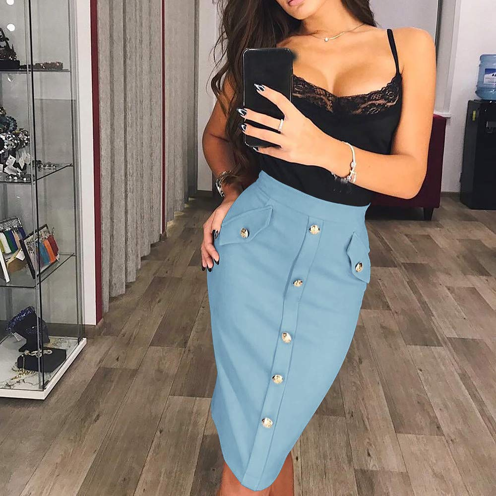 kingfansion Skirts with Pockets Women High Waisted Pencil Skirt Bodycon Button Skirts for Women Knee Length Blue by kingfansion dress (Image #4)