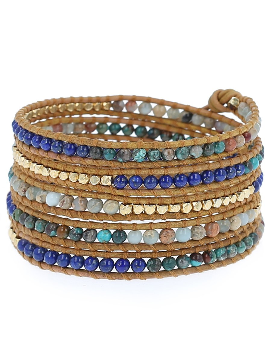 Chan Luu Aqua Terra Mix of Semi Precious Stones and Nuggets on Tan Leather Wrap Bracelet