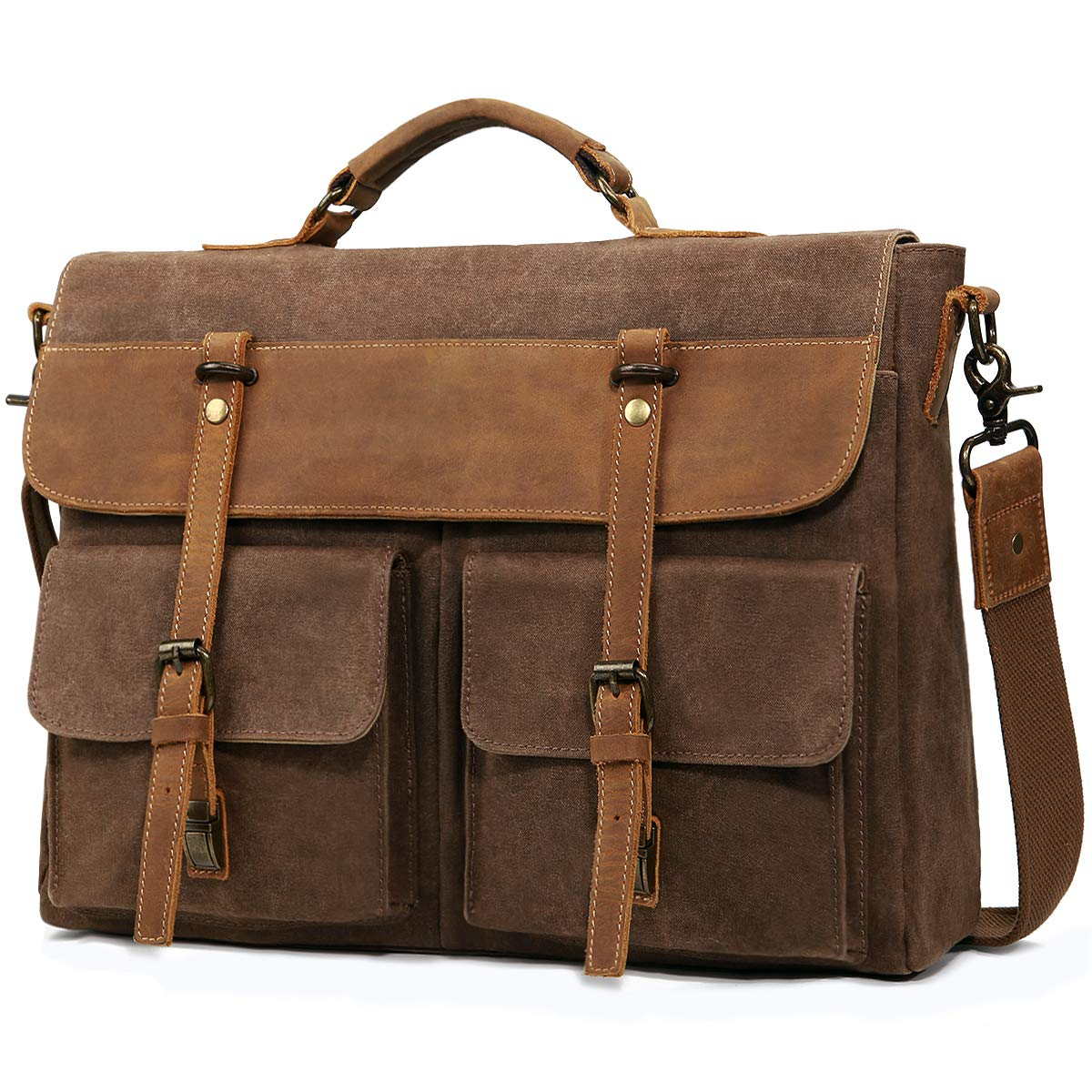 Large Messenger Bag for Men Tocode, Vintage Waxed Canvas Satchel Leather Briefcases Crossbody Shoulder Bags, 15.6 inch Computer Laptop Bags Water Resistant Travel Work Bag (Coffee)