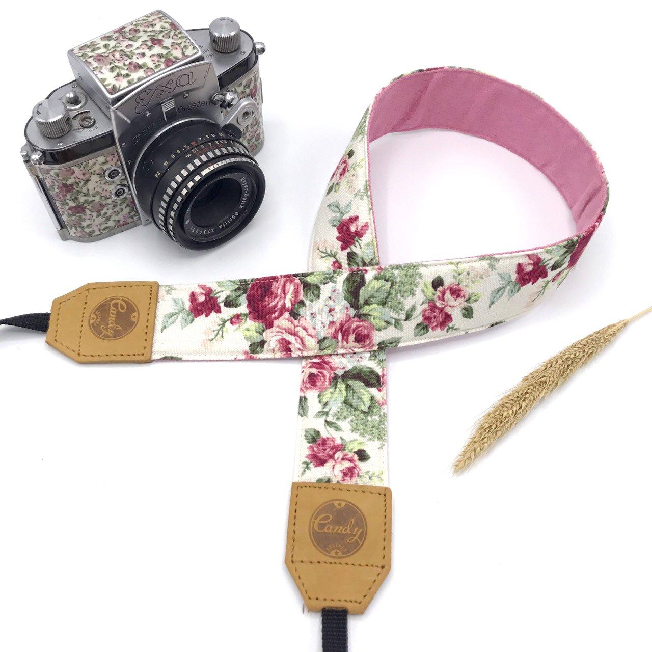 PresonalizedホワイトピンクFloraカメラストラップ、キャンディレザーDSLRカメラストラップ、本革カメラストラップ、ギフトfor Her B07DPSK4JY
