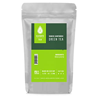 Elevate Tea CHINESE GUNPOWDER GREEN TEA, Loose Leaf Tea Blend,  30 servings, 3 Ounce Pouch, Caffeine Level: Medium, Single Unit