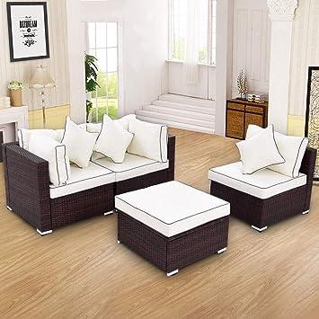 Amazon.com: Stark Item - Juego de 4 muebles de mimbre para ...