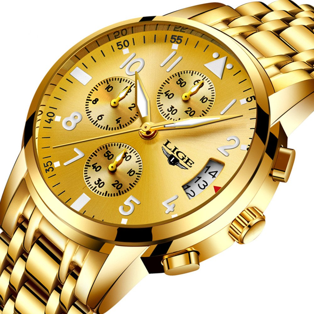 LIGE 9825 Men's Watches Stainless Steel Quartz Watch, Noctilucent, Waterproof, Sports and Fashion Watches (Gold)
