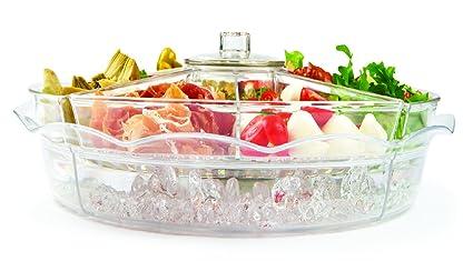 Bandeja de aperitivos giratoria Jumbl de 8 secciones, refrigerada con hielo, con cámara de hielo ventilada: Amazon.es: Hogar