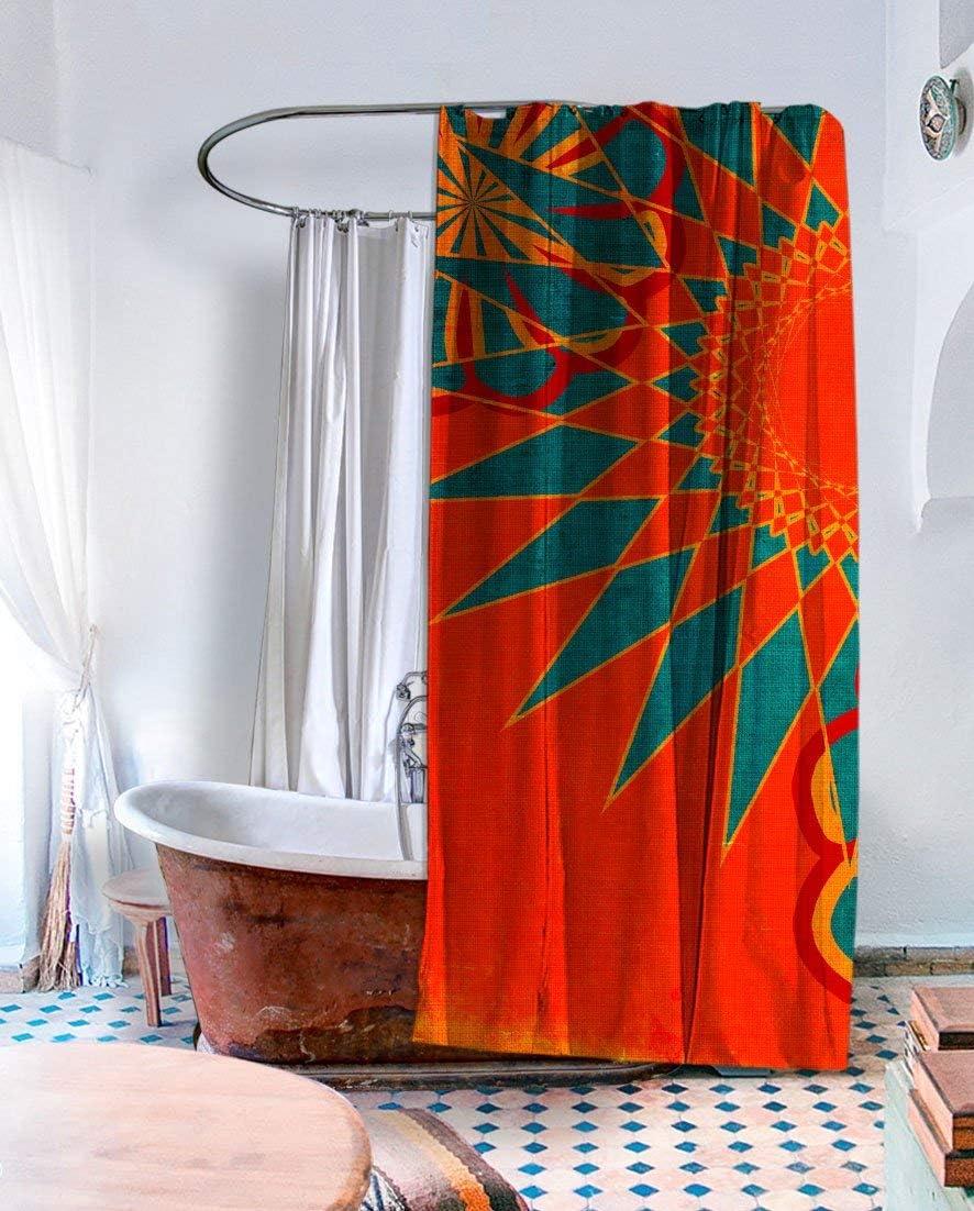 Boho Shower Curtain 71 X 74 Inch Orange Fabric Shower Curtain West Indies Ubu Republic Kitchen Dining