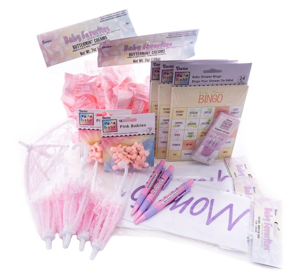 Baby Shower Party - Its a Girl! Bingo Game, Mom To Be and Grandma To Be Sashes, Pink Umbrella Set, Miniature Babies, Baby Girl Pens, Mints, Napkin Holders | Girl Shower Party Supplies by Baby Shower