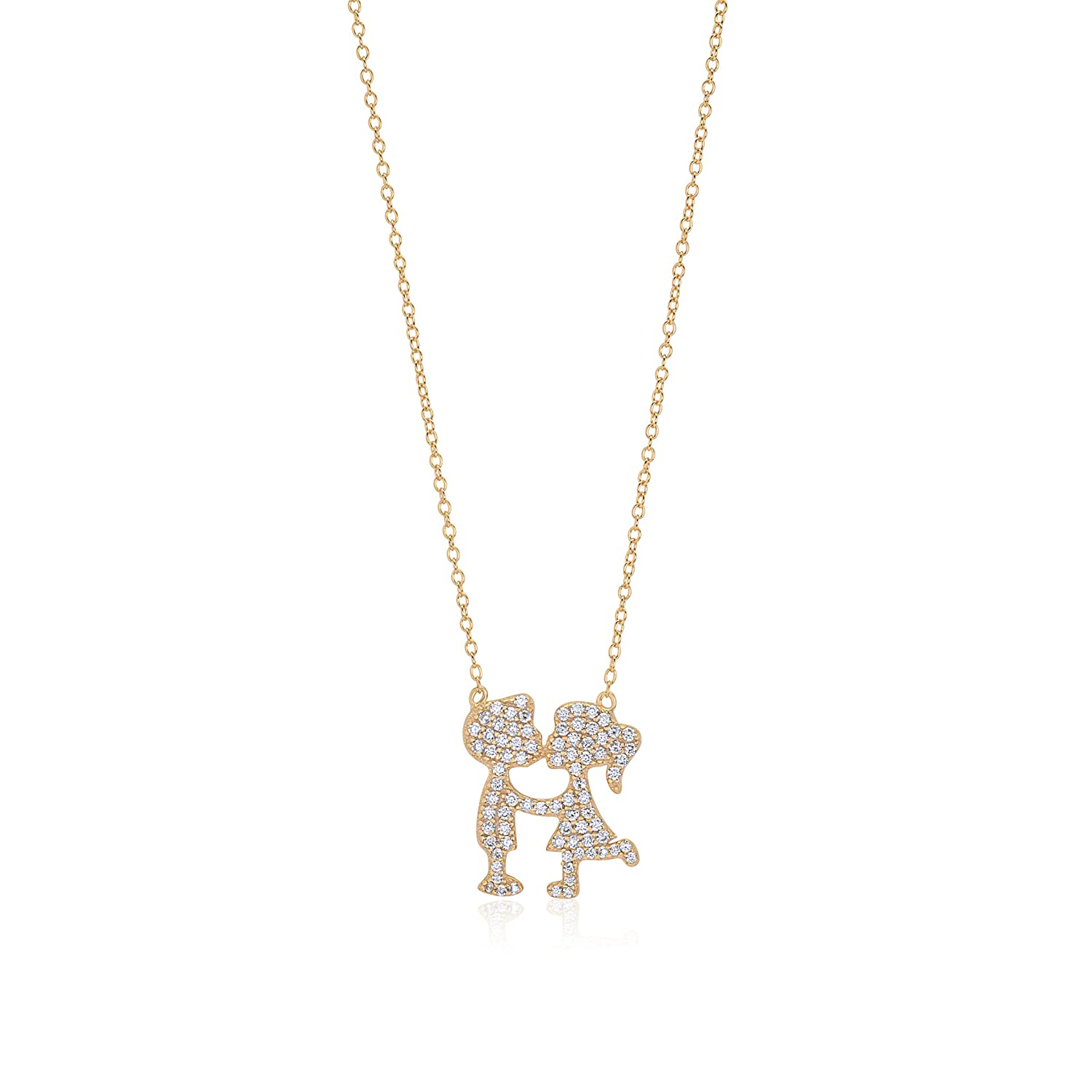 UNICORNJ Sterling Silver 925 Pave CZ Girl Boy Kissing Silhouette Pendant Necklace Yellow Gold Plated 18 Italy