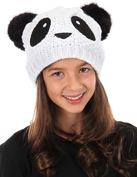 Baby Boys 100/% Acrylic Teddy Bear White Panda Brown Bear Knitted Hat Knitted