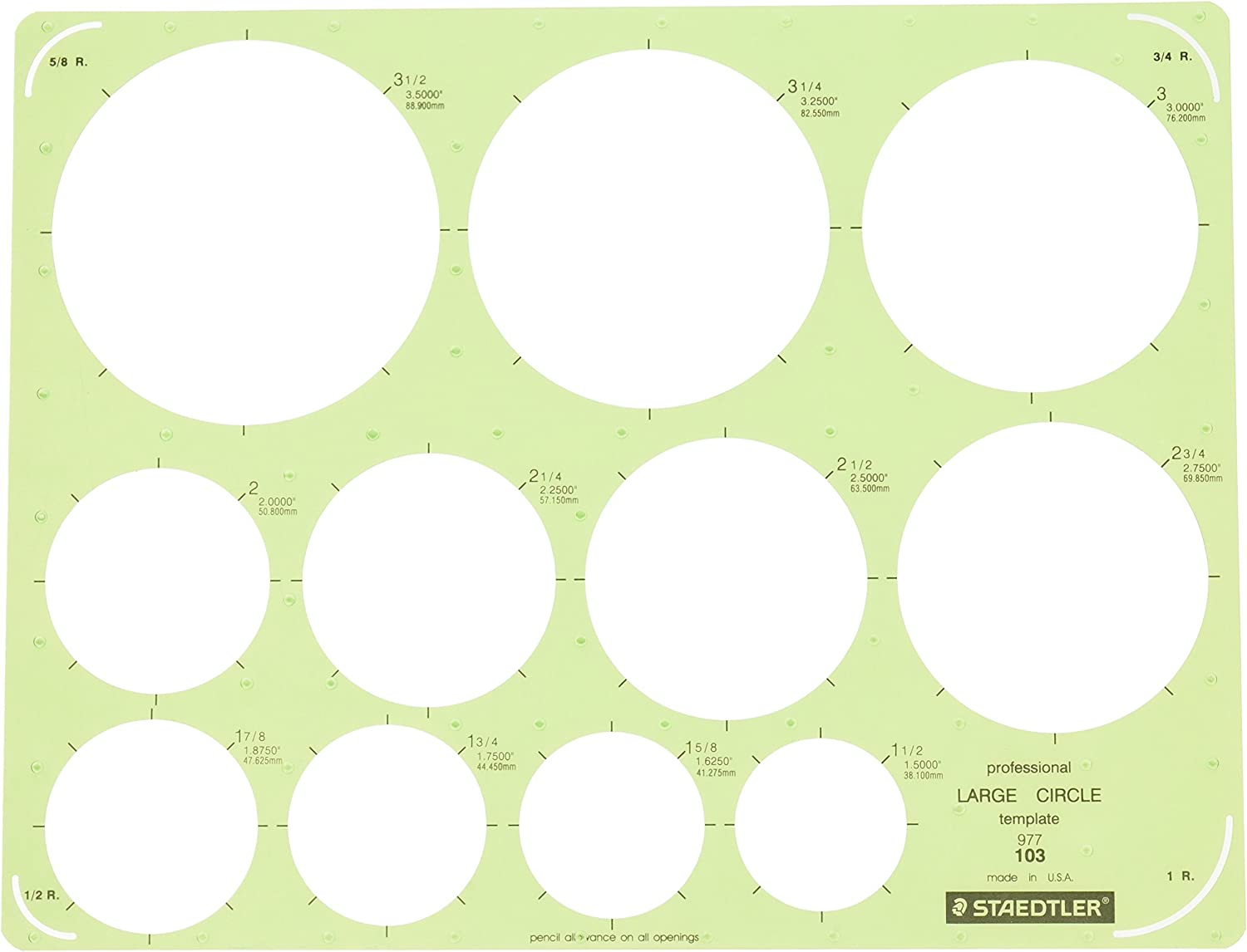 Staedtler Technical Drawing Template (977 103 NA) : Technical Drawing Templates : Office Products