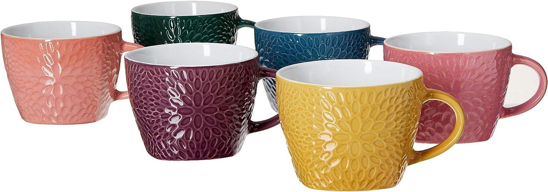 Elama EL-GARDENGLEE Garden Glee Luxe 6 Piece 18 oz Mug Set in Assorted Colors, 18 ounce, Multicolor