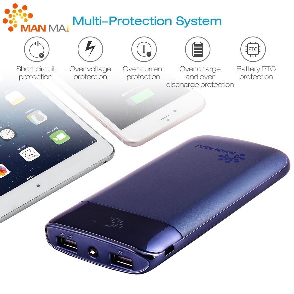 KUPPET 20000mAh Power Bank (Dual USB Port, 3.1A Total) External Portable Charger Battery Pack Portable Charger with LED Flashlight for iPhone 7, iPhone 8,iphone X,iPad Pro, Galaxy S8 Note8 and More by KUPPET (Image #4)