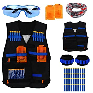 da7efe6d164 Junpro Black Tactical Vest Kit for Kids Nerf Guns Strike Elite Bullet  Darts