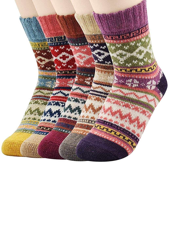C Mixed color Women's Winter Warm Boots Socks Fleece Merino Ladies Cozy Wool Socks For Woman