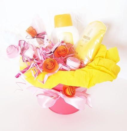 Macetero con dos productos Weleda Caléndula BIO y Flores hechas con Calcetines en Algodón | Baby
