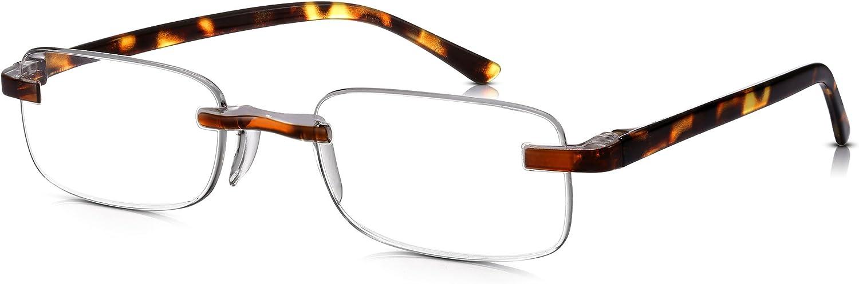 Read Optics Occhiali Uomo//Donna da Lettura Vista: Senza Montatura con Aste in Policarbonato Effetto Tartaruga 2 Lenti per Presbiopia Rettangolari +1.25 2.5 3 3.5 1.5
