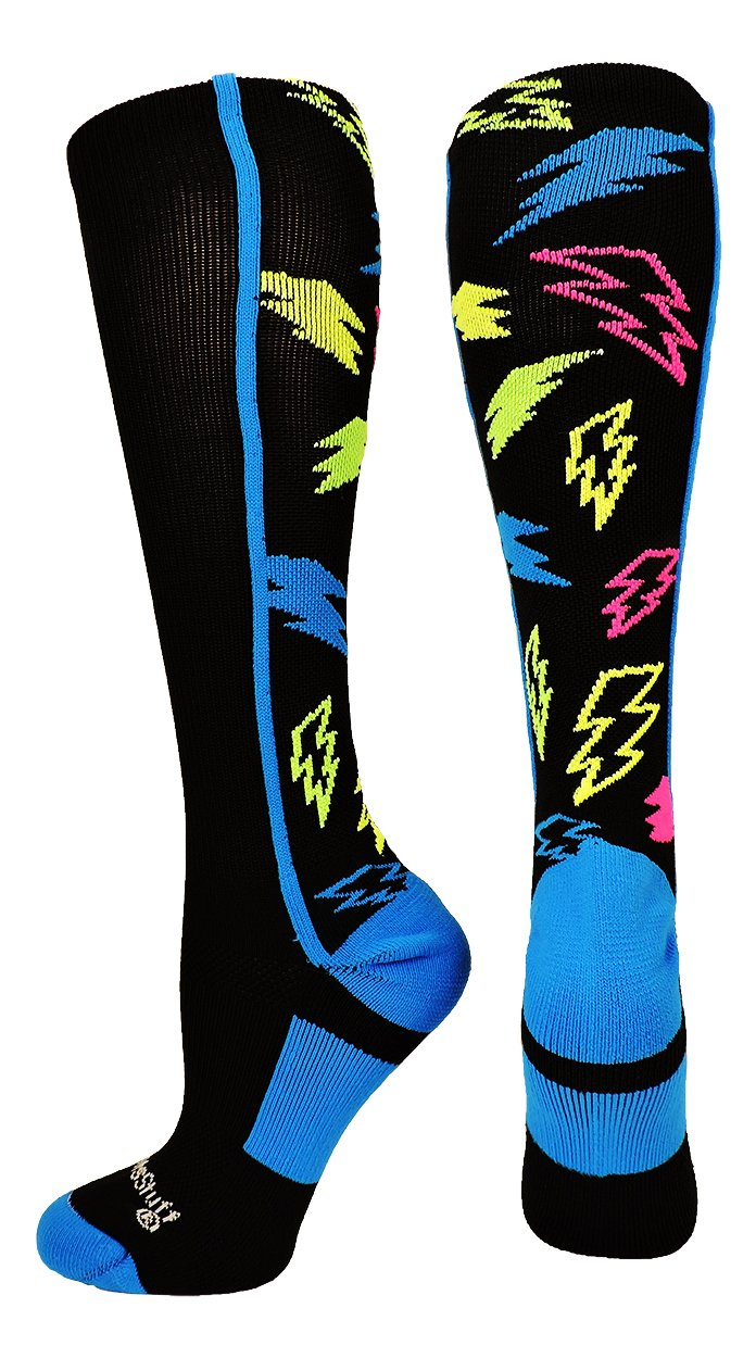 MadSportsStuff Crazy Socks with Lightning Bolts (Black/Multi-Neon, Large)