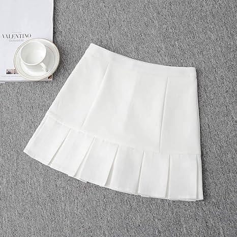 HEHEAB Falda,Blanco Plisado Cintura Alta Lolita Una Oficina Online ...