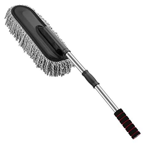 img buy MoKo Car Duster, Multipurpose Microfiber Wash Brush Vehicle Interior and Exterior Cleaning Kit with Extendable Handle for Car, Bike, RV, Boats or Home - Grey