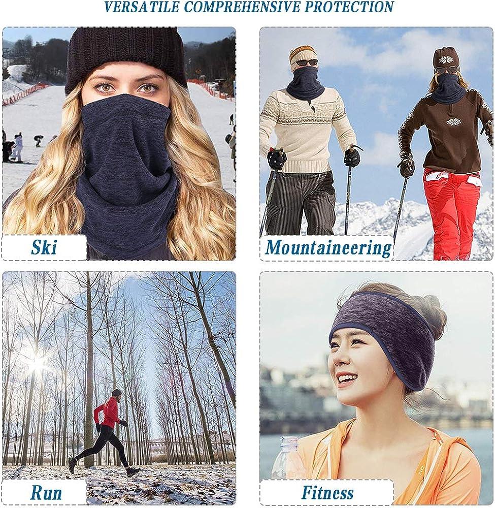 AUVSTAR Fleece Neck Warmer,Ear Warmers Headbands,Snood Scarf Hat Winter Outdoors Work Sports,Unisex Polar Balaclava Hood,Hiking,Motorbikes,Cycling,Ski Wear Mask Warm Neck Tube