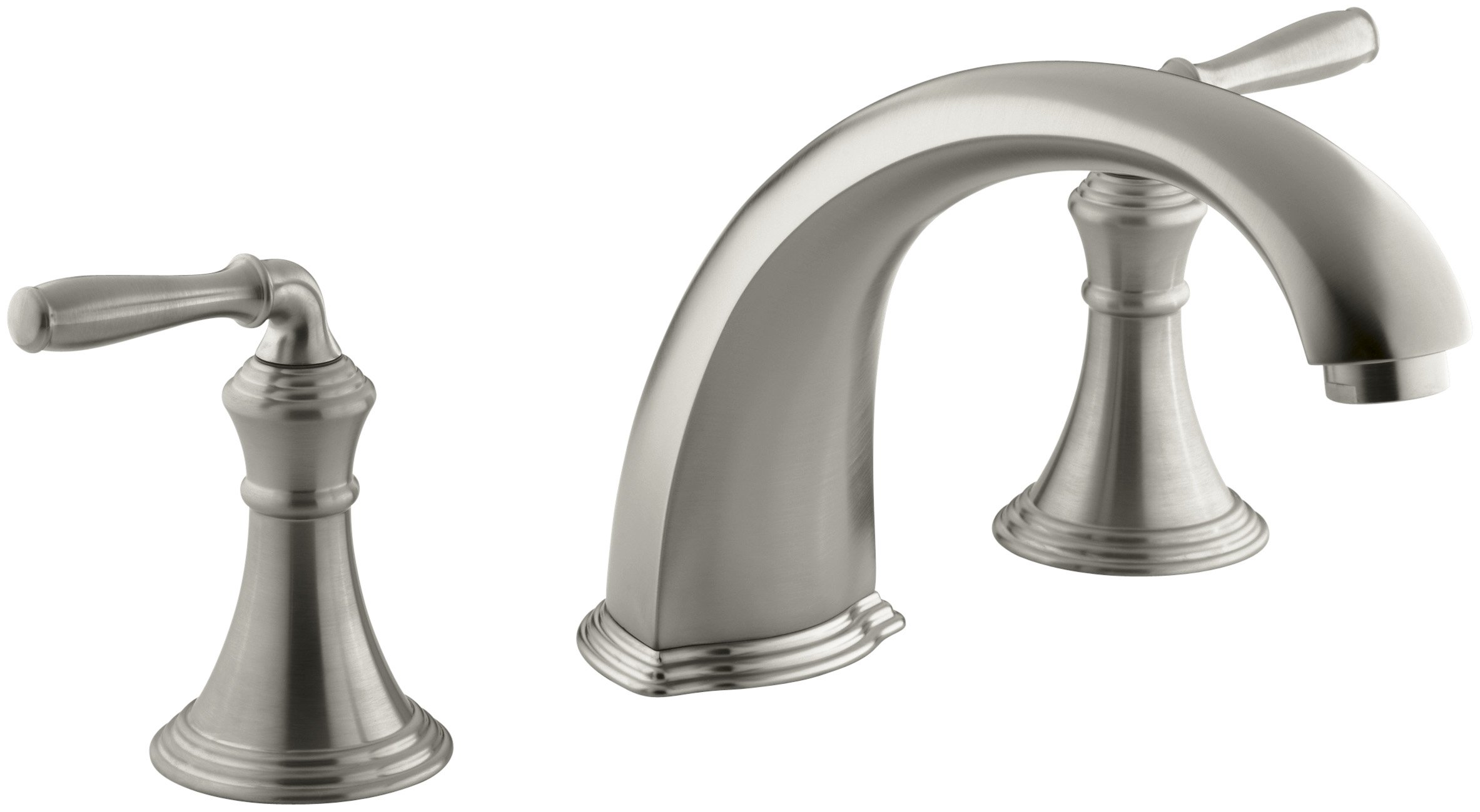 KOHLER K-T398-4-BN Devonshire Deck-/rim-mount Bath Faucet Trim for High-flow Valve with 9 Inch Non-diverter Spout and Lever Handles (Valve Not Included) by Kohler