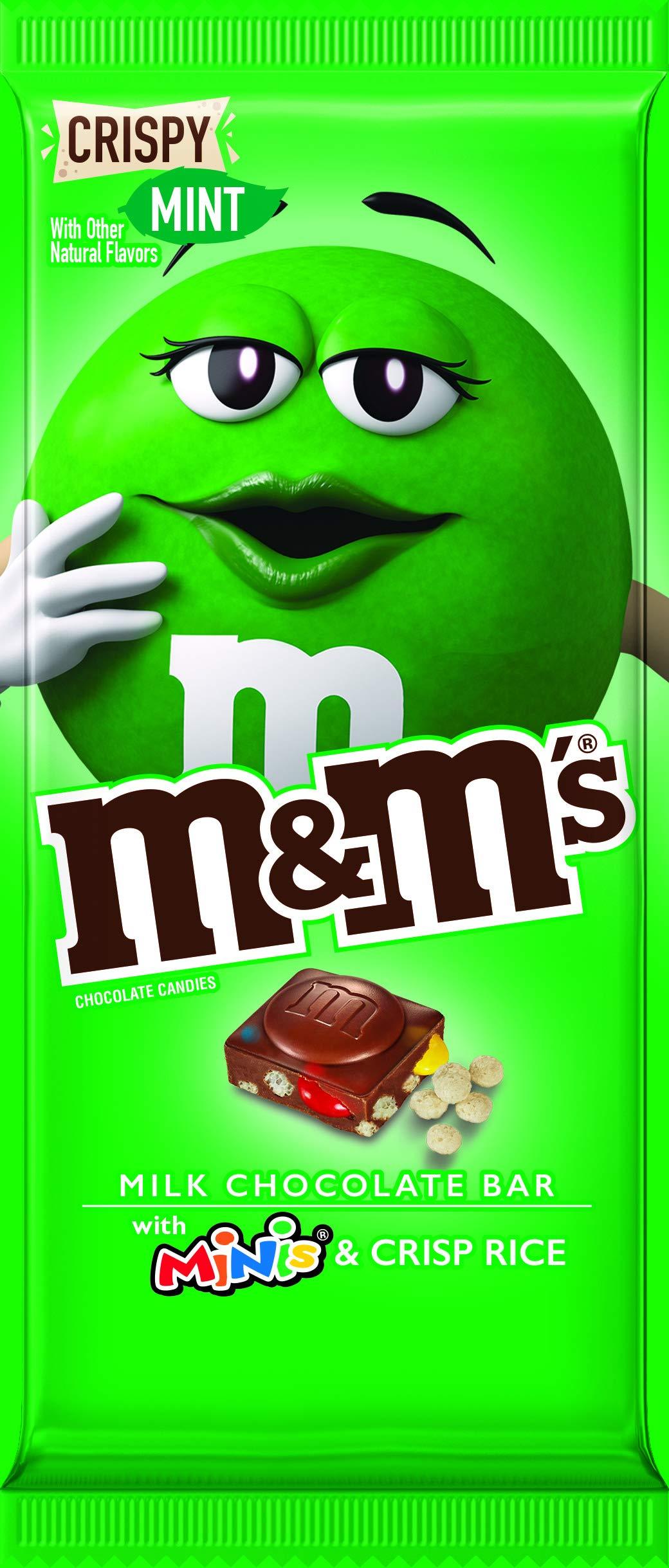 M&M's M&M'S Crispy Mint & Minis Milk Chocolate Candy Bar, 3.8-Ounce Bar, 3.8 oz