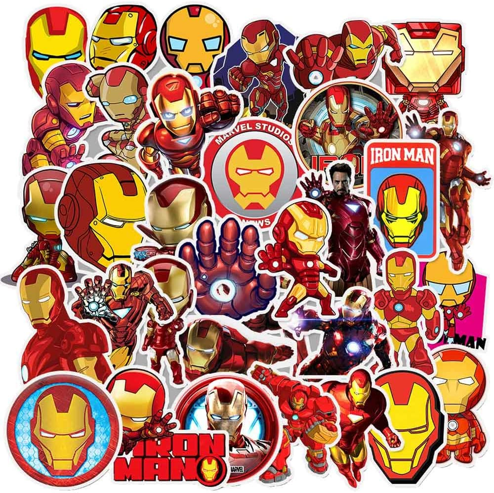 Iron Man Stickers for Kids,Laptop Sticker Pack for Waterbottle,Laptop,Phone,Travel Extra Durable 100% Vinyl