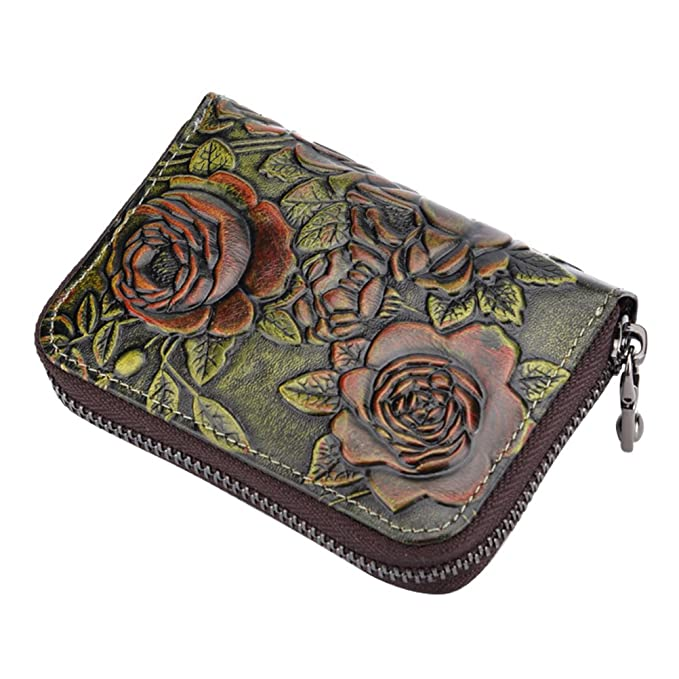 a6375a78704d Womens Wallet Fmeida Leather Credit Card Holder Change Purse Zipper Card  Case