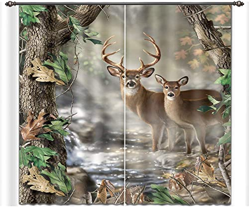 LB Forest 3D Window Curtains for Bedroom Living Room,Deer in The Jungle Animal Decor Room Darkening Blackout Curtains Drapes 2 Panels,42 x 63 Inches