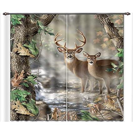 Amazon Com Lb Forest 3d Window Curtains Bedroom Living Room Deer In
