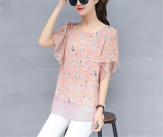 OUXIANGJU New Women Blouse Summer Casual Plus Size Tops Ladies O-Neck Batwing Sleeve Chiffon Shirts at Amazon Womens Clothing store: