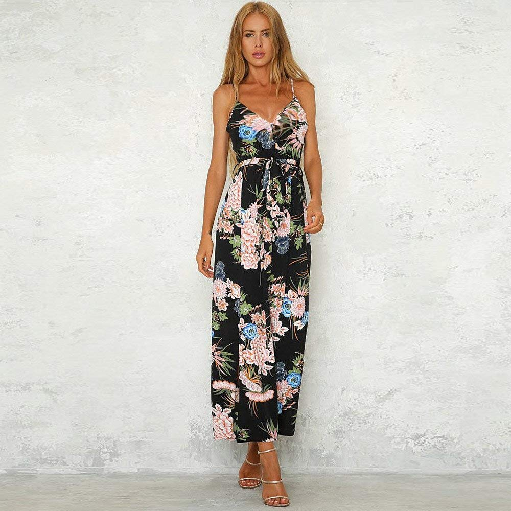 GWshop Ladies Fashion Elegant Jumpsuit Women Jumpsuits Strappy Floral Printed Slit Long Holiday Trouser Playsuits Blue M by GWshop (Image #2)