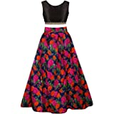 Sky Global Girl's Bangalori Silk Semi-Stitched Lehenga Choli (Multicolor_Free Size)