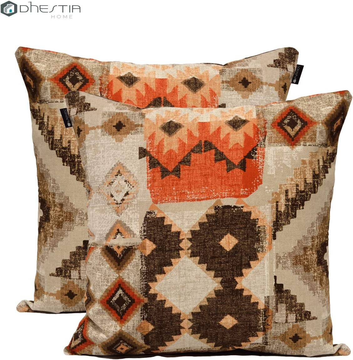 DHestia Pack x 2 Fundas Cojines Decoración Sofá y Cama 45x45 cm Diseño (Etnic 156), Multicolor, 45 x 45 cm: Amazon.es: Hogar
