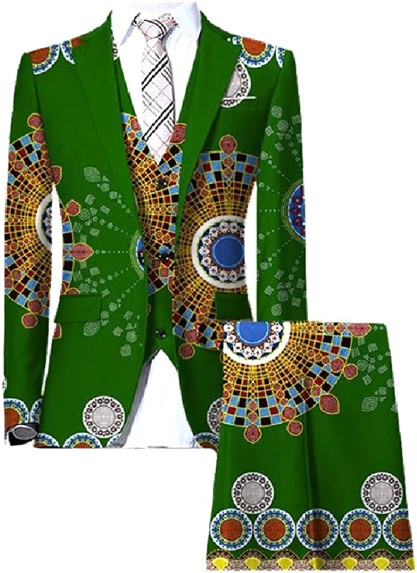Abetteric Men African Wax Fabric Dashiki 3 Piece Suit Blazer Vest Pants Set Green S