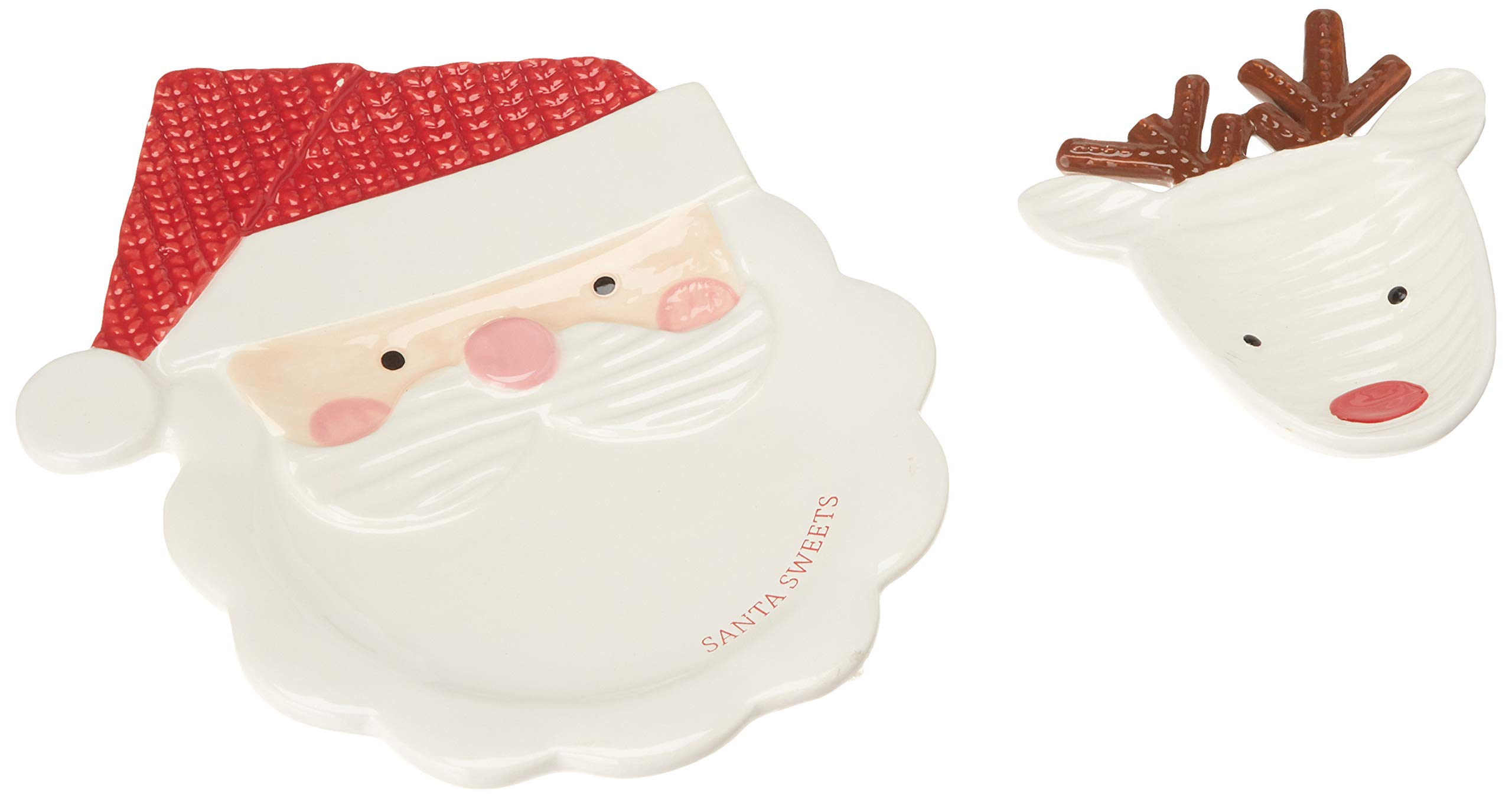 Mud Pie 4115025 Santa Sweets Cookie Plate Set, One Size, White/Red by Mud Pie
