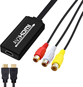 RCA to HDMI Cable, AV to HDMI Converter, NerdEthos Mini RCA Composite CVBS to HDMI Video Audio Adapter Supporting PAL NTSC for TV PC Laptop Xbox PS2 PS3 STB VHS VCR Camera DVD