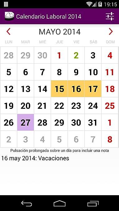 Amazon.com: Calendario Laboral 2014 España: Appstore for Android