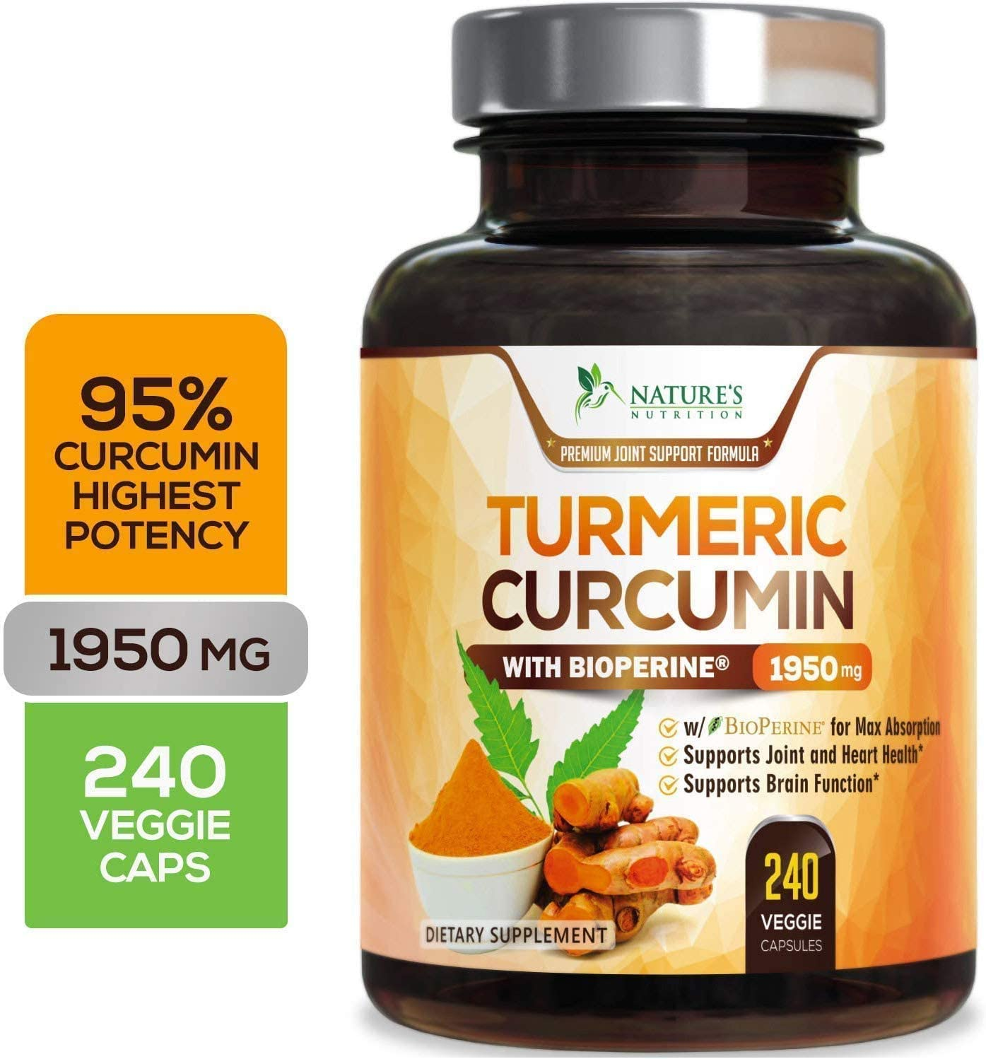 Turmeric Curcumin with BioPerine 95% Curcuminoids 1950mg with Black Pepper for Best Absorption, Made in USA, Best Vegan Joint Support, Turmeric Supplement Pills by Natures Nutrition - 240 Capsules