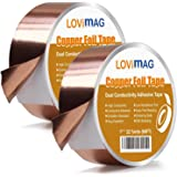 Copper Foil Tape (1inch X 66 FT X 2) with Conductive Adhesive for Guitar and EMI Shielding, Slug Repellent, Crafts, Electrical Repairs, Grounding