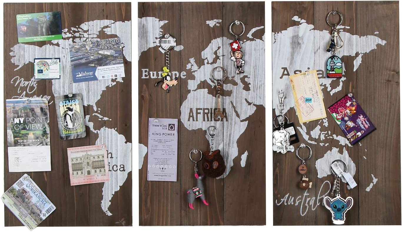 J JACKCUBE DESIGN Rustic Wood World Push Pin Travel Map for Wall, Print Decor Wood Frames with 20 Push Pins, Hanging Travel Maps Artwork for Living Room Office - MK615A
